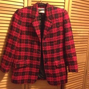 Lord & Taylor Heavy Red & Black Wool Blazer